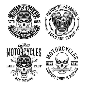 Motorcycles set emblems, labels, badges or logos with skull in vintage style
