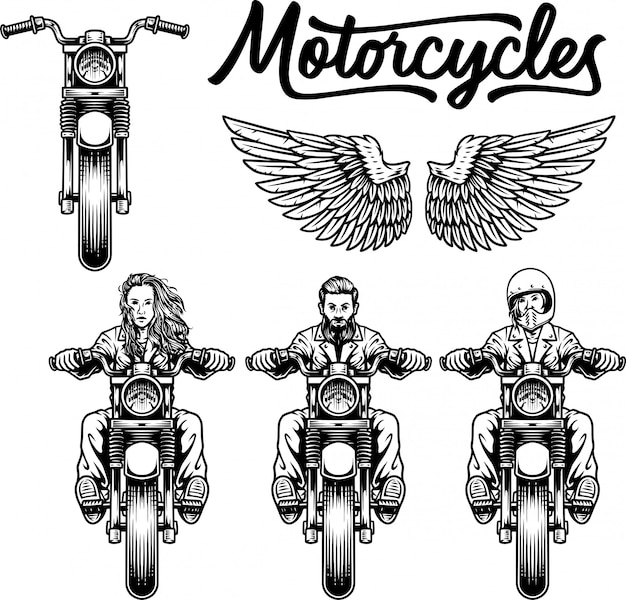 Motorcycles set and wings