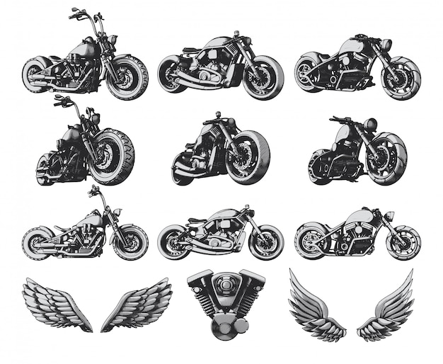 Motorcycles, wings and engine