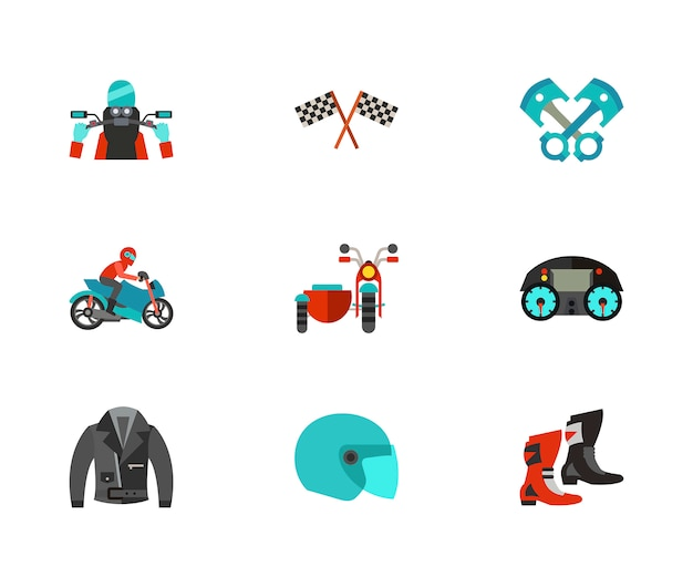 Motorcycling icon set