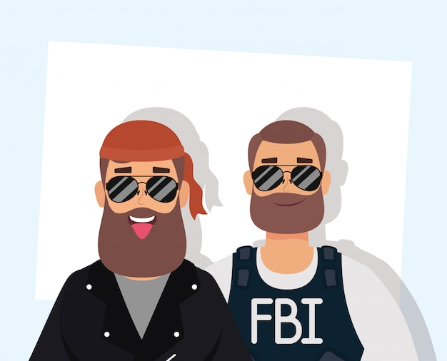 Motorcyclist man with beard and fbi agent