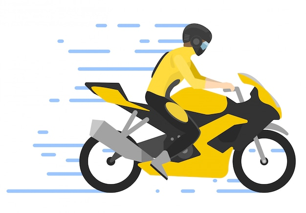 Motorcyclist on motorbike ,  illustration. motorbiker. motocross race.