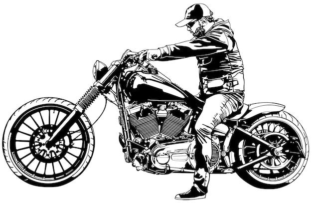 Мотоциклист на мотоцикле harley davidson