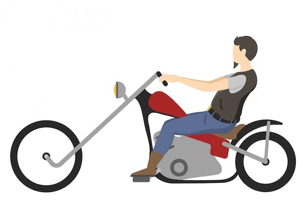 バイク、イラストのモーターサイクリスト。バイク。モトクロスレース。