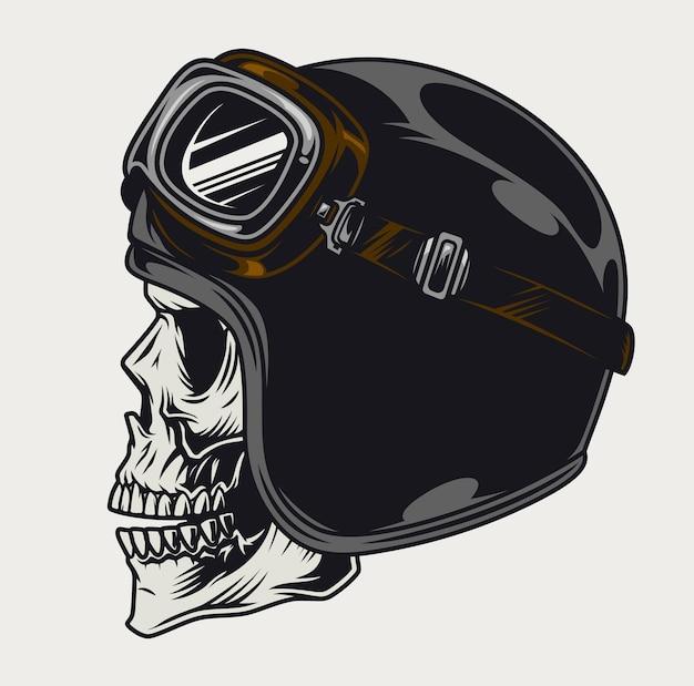 モーターサイクリストの頭蓋骨の側面図のビンテージテンプレート、ヘルメットとゴーグルの分離図