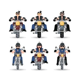 오토바이 아이콘 세트를 운전하는 오토바이