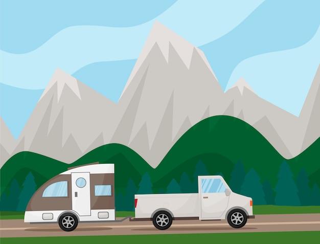 캠핑카 캐러밴 캠핑카가 도로를 질주합니다. 언덕, 산, 나무가 있는 풍경. 여름 휴가, 캠핑, 여행, 여행, 하이킹, 벡터 만화 삽화. 여행 시간. 벡터 일러스트 레이 션