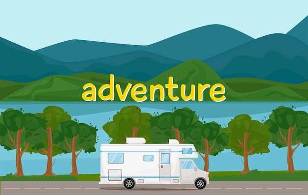 캠핑카 캐러밴 캠핑카는 언덕 mounains와 나무 여름 휴가와 함께 도로 풍경에 타기