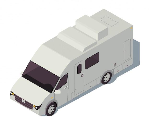 キャンピングカー等尺性カラーイラスト。都市交通インフォグラフィック。車のキャンピングカー。トラック車両。車での旅行。航海輸送。白い背景に分離された自動車3 dコンセプト