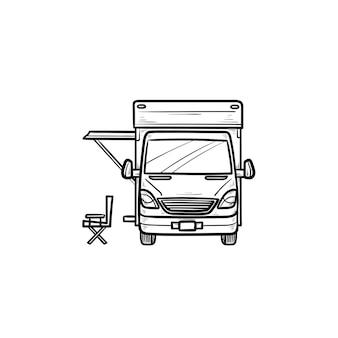 テントの手描きのアウトライン落書きアイコンとキャンピングカー。キャラバンと休暇、レクリエーションとrv、キャンピングカーのコンセプト