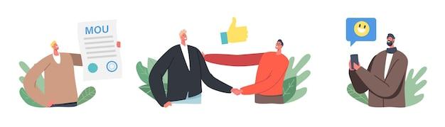 Концепция партнерства по соглашению о взаимопонимании. персонажи-бизнесмены подписывают меморандум о взаимопонимании, в котором излагаются общие принципы соглашения, достигаемого сторонами. мультфильм люди векторные иллюстрации