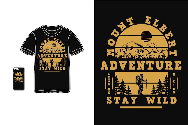 Маунт альберт приключения дизайн для футболки силуэт ретро стиль