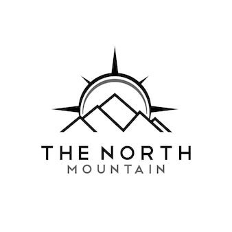 Mount compass mountain peak for travel adventure logo design inspiration