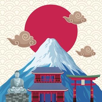 富士山と日本のアイコン