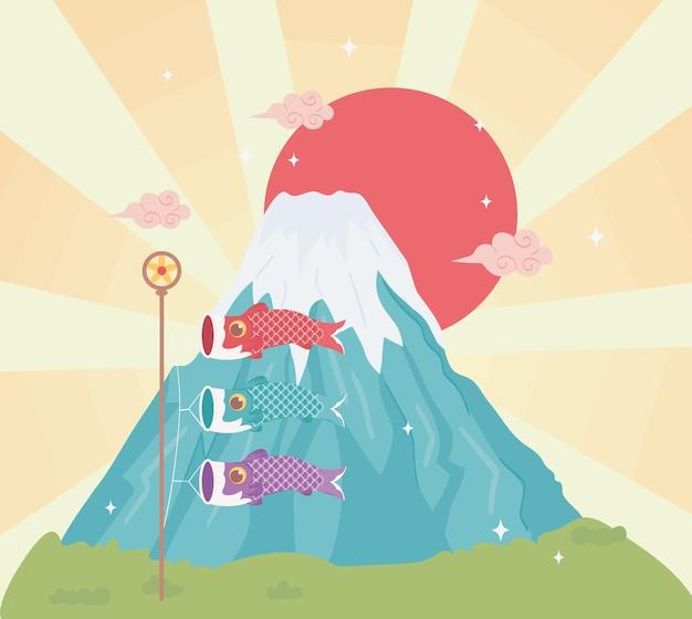 Гора фудзи и флаги рыб кои