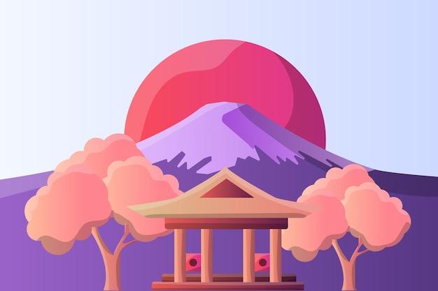 観光名所の富士山と神社のイラスト風景
