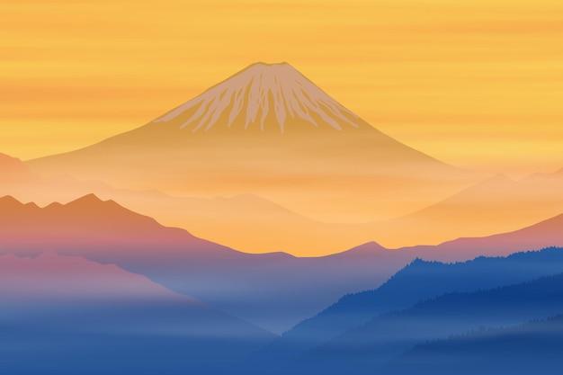 夜明けに日本の富士山