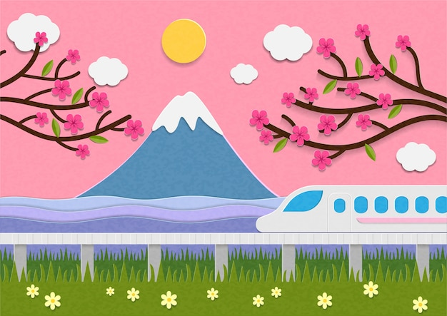 Mount fuji and speed train in japan