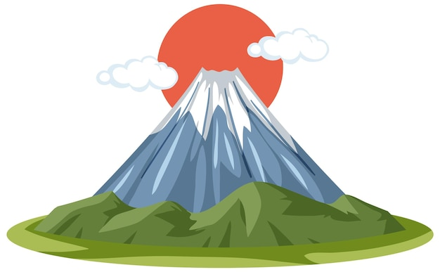 Mount fuji with red sun in cartoon style isolated on white background