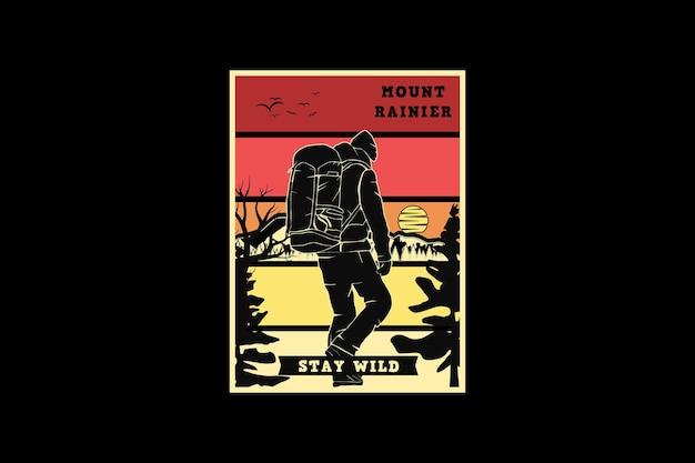 Mount rainier stay wild, design silhouette retro style