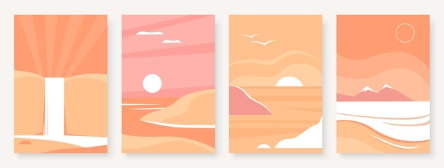 Mountain abstract landscape template for social media stories set wall pictures minimal nature