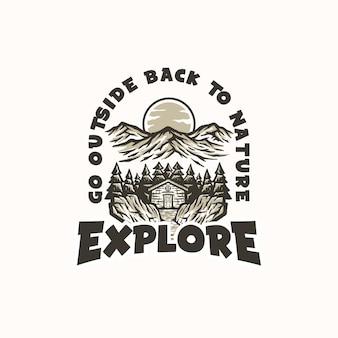 Горные приключения и открытый старинный шаблон логотипа. значок или стиль эмблемы.