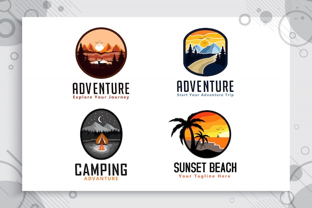 Установите коллекцию mountain adventure & beach логотип с концепцией значка.