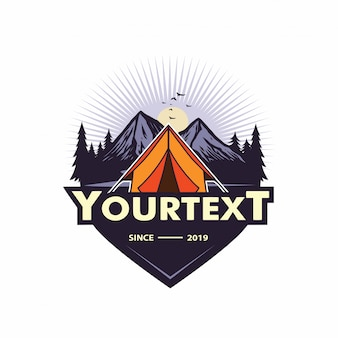 Mountain adventure , camping, climbing, expedition, labels, vector logo template