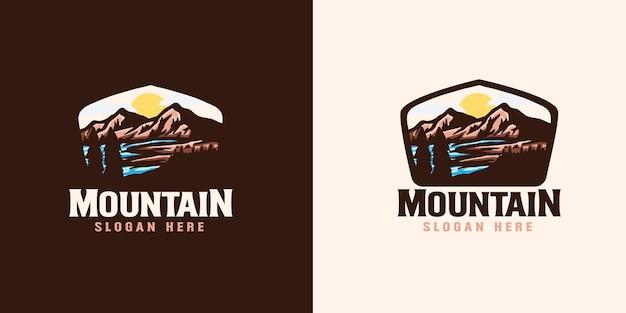 산 모험 상징 로고 템플릿