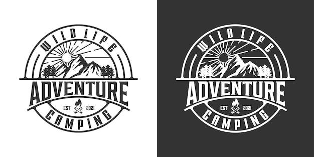 屋外のロゴデザインのインスピレーションのための山の冒険