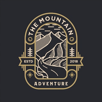 The mountain adventure line art logo
