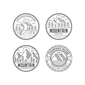 山の冒険ラインアートビンテージスタイルのロゴデザインセットテンプレート