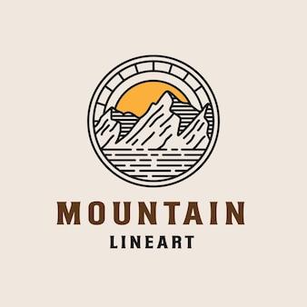 산 모험 선화 로고 템플릿