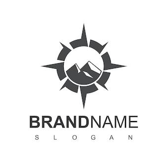 Шаблон дизайна логотипа горных приключений
