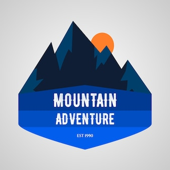 山の冒険のロゴのテンプレート