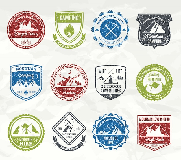 Mountain adventure stamps