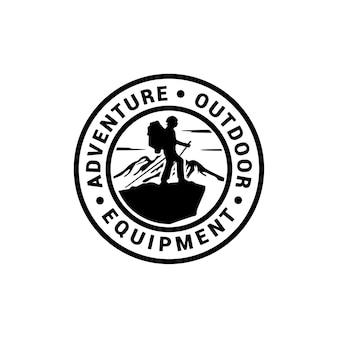 Mountain adventurer and sky for hipster adventure traveling  shop logo design inspiration