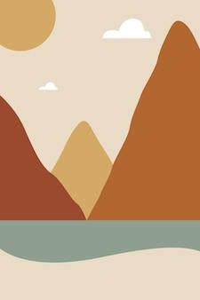 平らな色と自由奔放に生きるスタイルの山とビーチの風景イラスト。