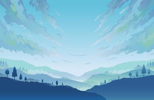 Горный и облачный пейзаж пейзажный фон