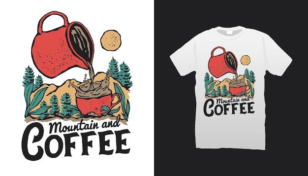 山とコーヒーのイラスト