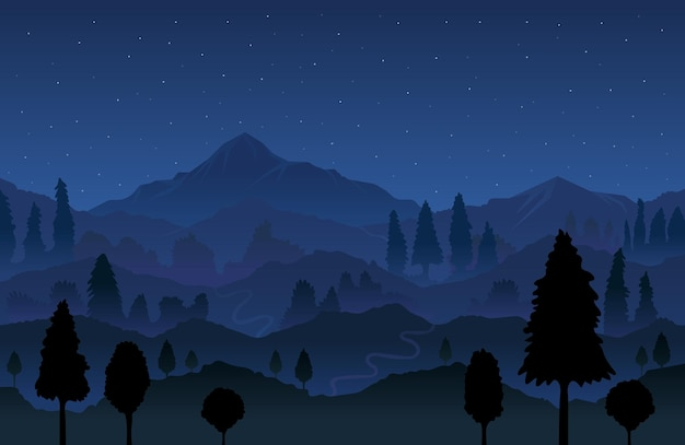 Горы и лес на фоне ночного пейзажа