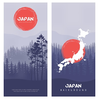 Горно-лесной пейзаж. иллюстрация флага японии векторный фон. эффект солнечных лучей в стиле ретро