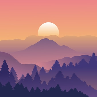 Mountain and forest landscape with trees on Sunse