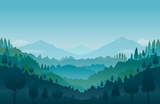 Горный и лесной пейзаж пейзажный фон