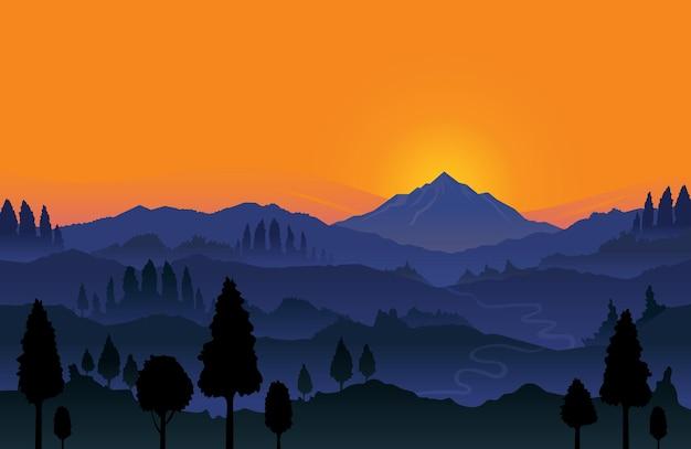 Горы и лес восход пейзажный фон