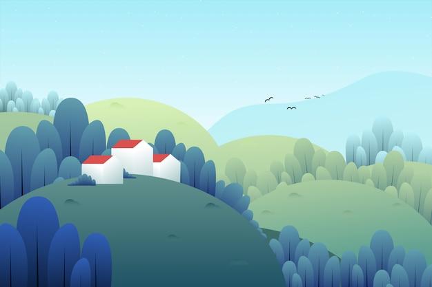 山と家の風景イラスト