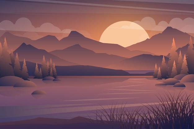 산과 호수 일몰 풍경입니다. 숲과 산 실루엣, 저녁 나무 파노라마에 현실적인 나무. 그림 야생 자연 배경
