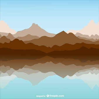 Mountain and lake template landscape