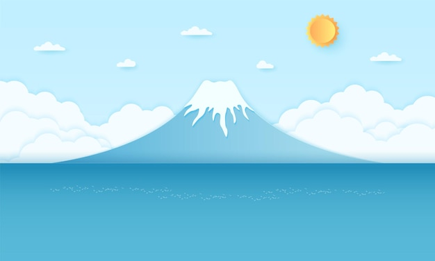 明るい太陽と青い空、紙のアートスタイルの山と海