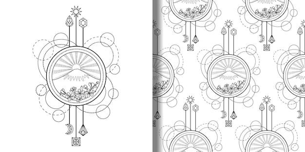 산과 태양 인쇄 및 원활한 패턴 세트